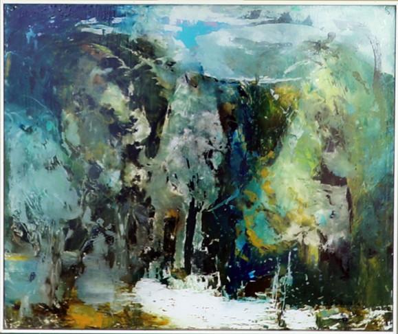Ilmaisullinen abstrakti maalaus. Kirjava, sinisen sävyjä, mustaa, ruskeaa, valkoista ja hieman keltaista.
