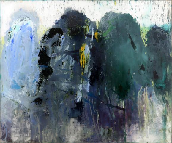 Abstrakti maalaus, jossa neljä kukkulaa muistuttavaa muotoa. Sinisen sävyjä, harmaata, valkoista, ripaus mustaa ja keltaista.