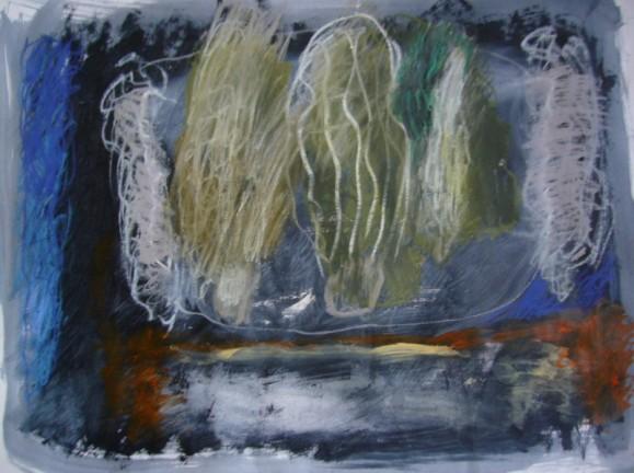 Abstrakti maalaus. Sinisiä, mustia, valkoisia sotkuja. Oranssia ja harmaata.