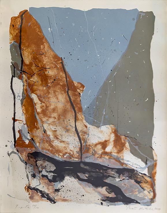 Abstrakteja mutotoja, ruskeaa, sinistä, harmaata, mustaa. Valkoinen tausta.