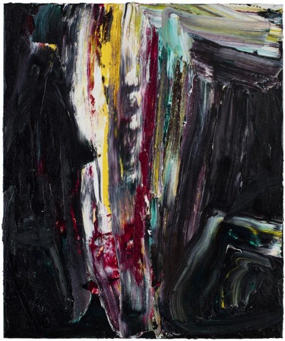 Abstrakti maalaus. Mustaa jonka seassa punaista, valkoista, keltaista. Paksua maalausjälkeä ja kerroksia.