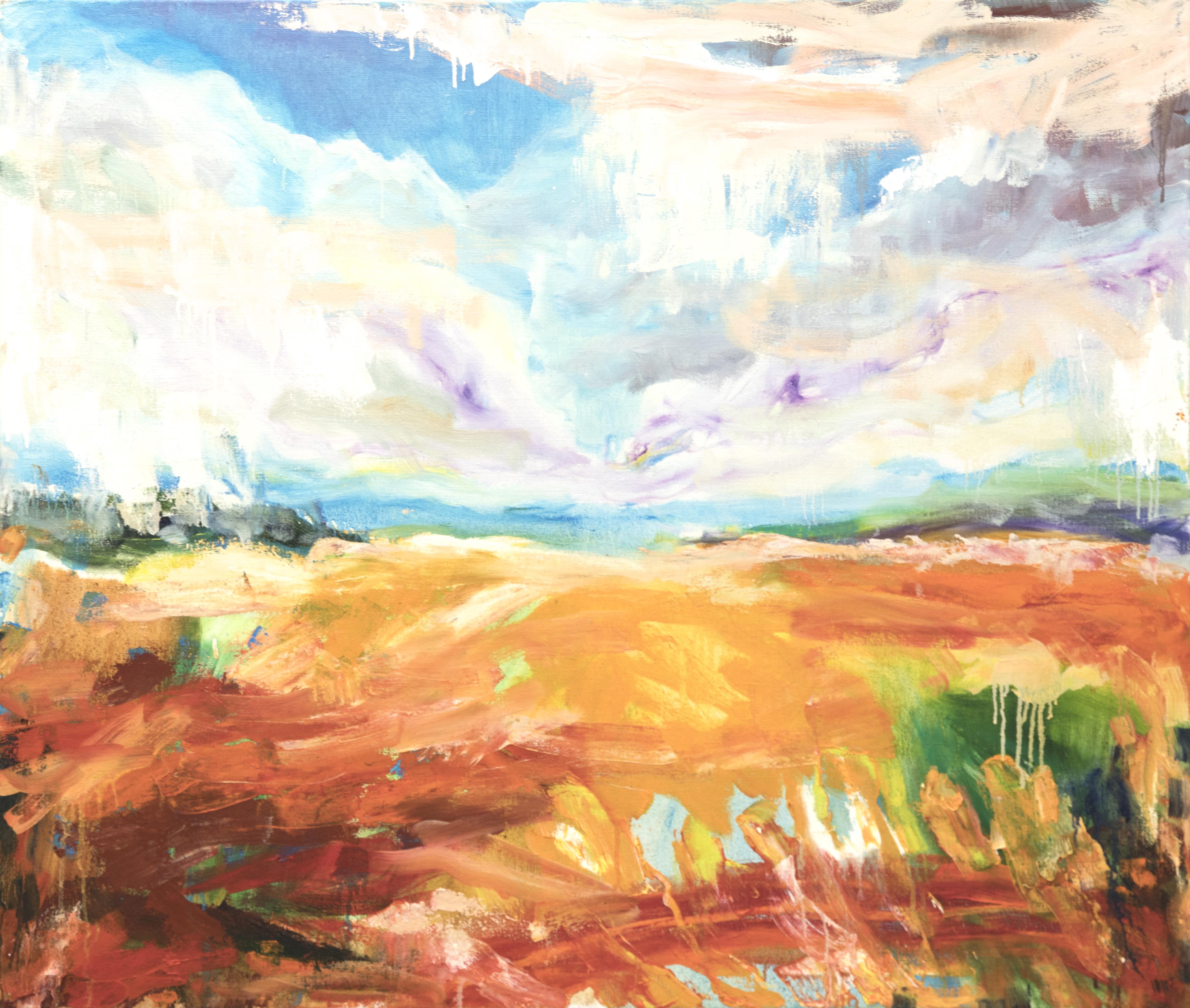 Maisemaa muistuttava abstrakti maalaus. Yllä valkoinen taivas, kirkkaansinistä ja violettia. Maa oranssia ja punaista, häivähdys vihreää ja sinistä.