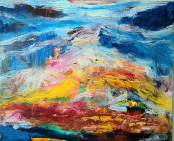 Kirkas ja värikäs abstrakti maalaus. Sinine hallitsee yläosaa.