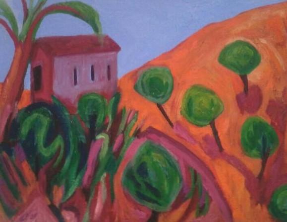 Violetti talo oranssilla rinteellä. Pyöreitä vihreitä puita, sininen taivas.