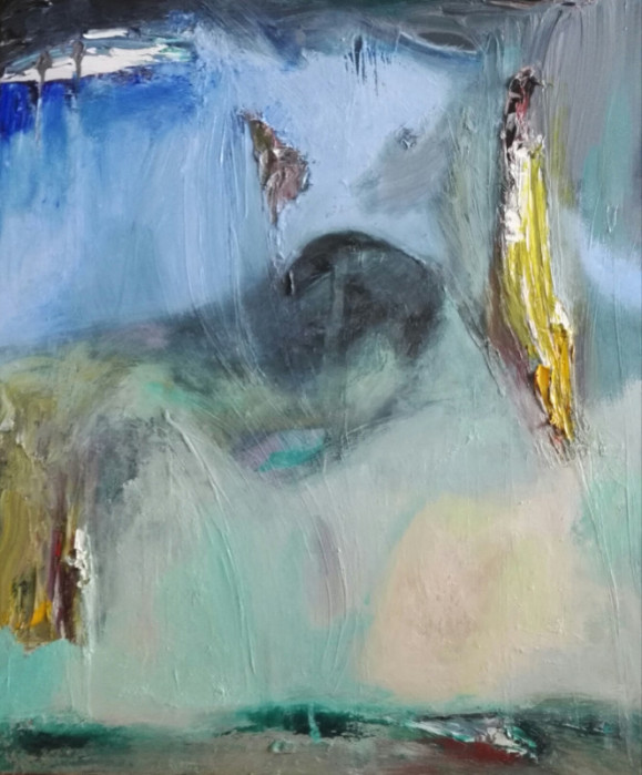 Abstrakti maalaus, epämääräisiä muotoja, sinistä, keltaista, turkoosia, valkoista ja hieman mustaa.