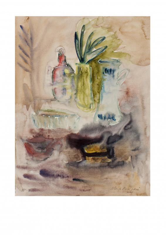 Impressionistinen asetelma: ananas, pullo, kannu, astioita. Haaleanruskeaa taustaa.