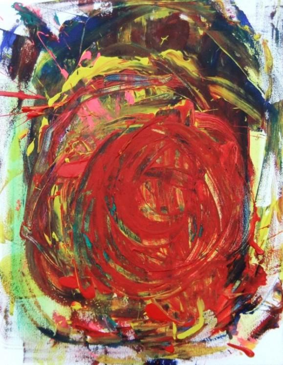 Räiskyvä, värikäs abstrakti maalaus, suuri punainen ympyrä, ilmaisullista maalausjälkeä.