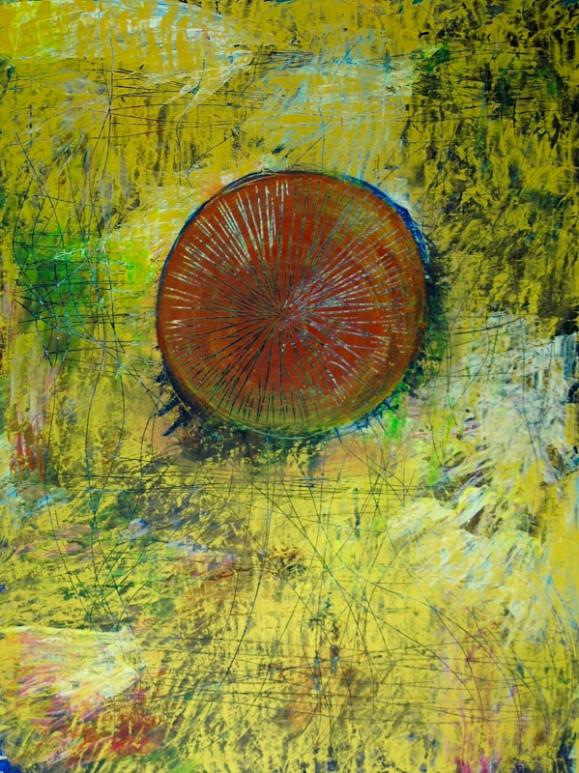 Punaoranssi pallo jonka sisällä raaputettua jälkeä. Kirjava keltaisen hallitsema tekstuurillinen tausta, raapimajälkeä.