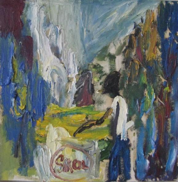 Kirjava abstrakti maalaus, joss epämääräinen ihmishahmo. Paksua maalausjälkeä.