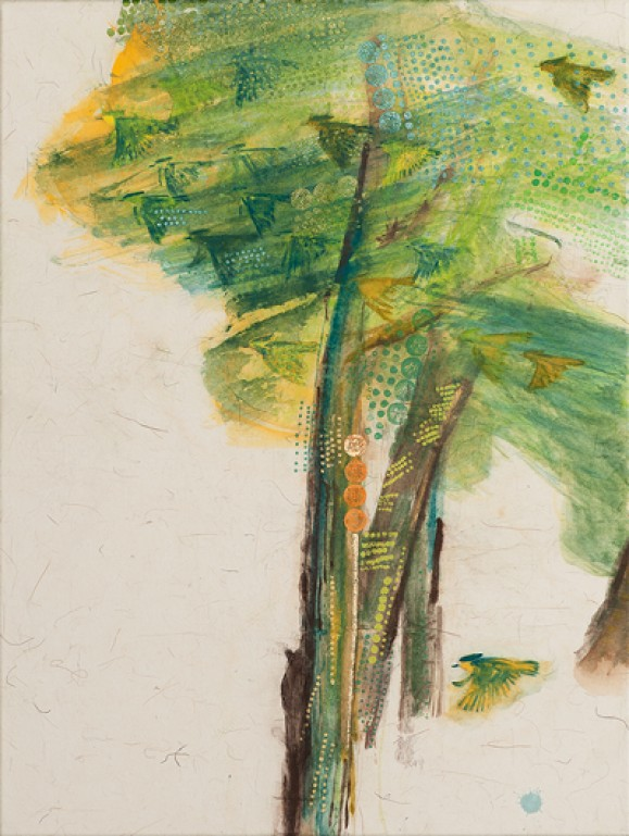 Puita muistuttavia muotoja, vihreää, keltaista, ruskeaa, pilkkuja. Alalaidassa keltavihreä lintu.