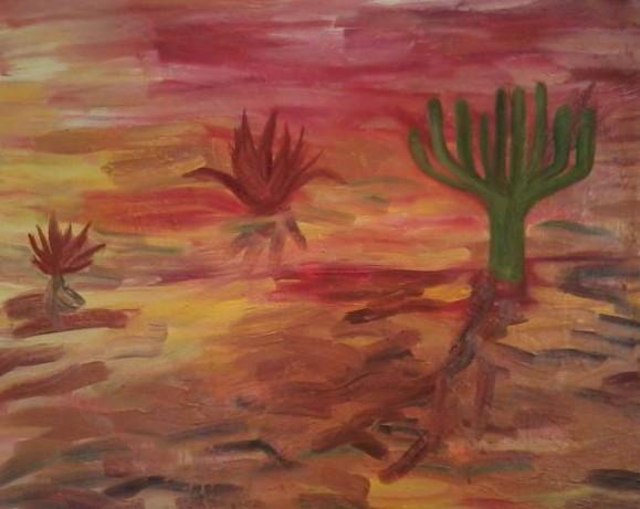 Kaksi punaista kaktusta, yksi vihreä. Maalauksellinen tausta, punaista, keltaista ja ruskeaa.