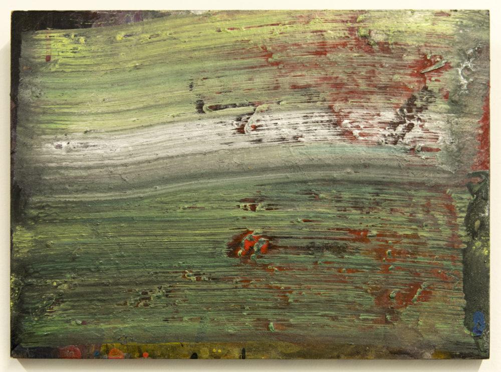 Abstrakti maalaus joka perustuu vertikaalisille siveltimenvedoille vihreän, harmaan ja valkoisen sävyissä. Häivähdyksiä punaista, oranssia, keltaista. Rouheaa tekstuuria.