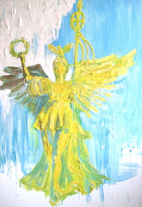 Keltainen ekspressionistinen enkelimonumentti sinivalkoisella taustalla.