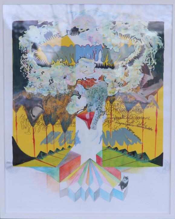 Abstrakti maalaus, moniaisia muotoja, värejä, viivoja, tekstiä. Sienipilven muotoinen sommitelma.