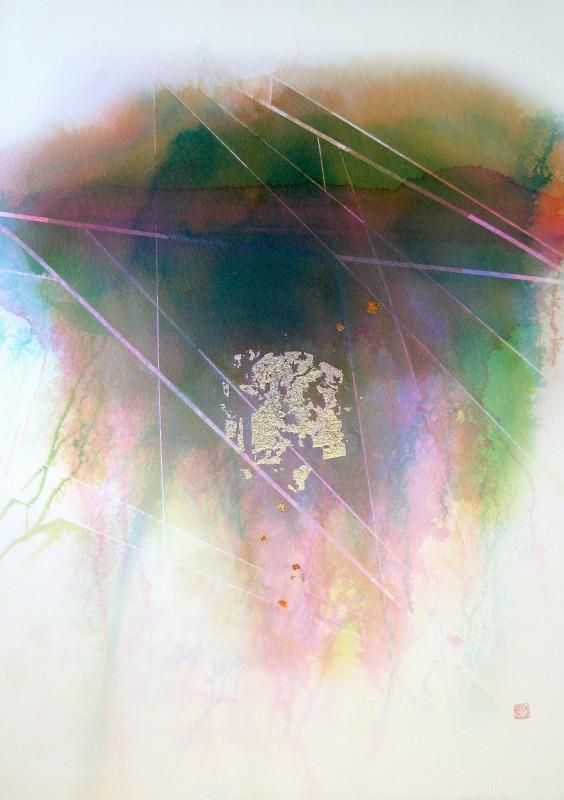 Värikäs, epämääräinen valuva muoto, jonka lomassa kulmikkaita alueita muodostavia raitoja.