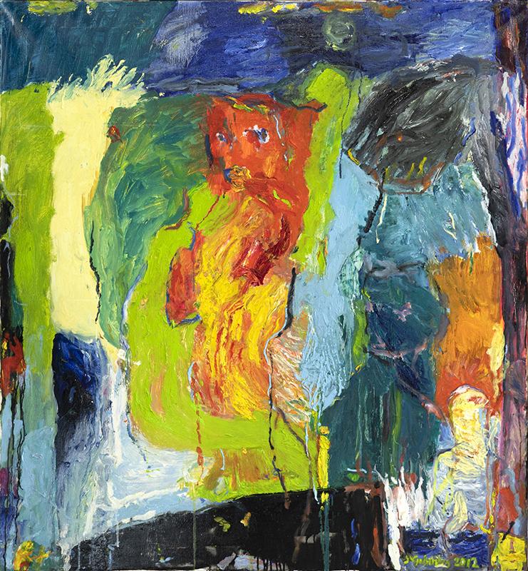 Värikäs ja dramaattinen abstrakti maalaus.
