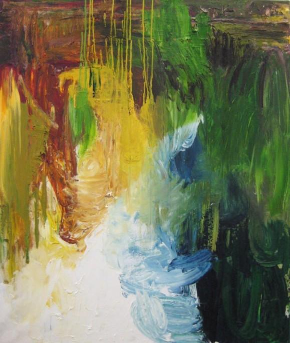 Abstrakti värikäs maalaus. Voimakasta maalausjälkeä.