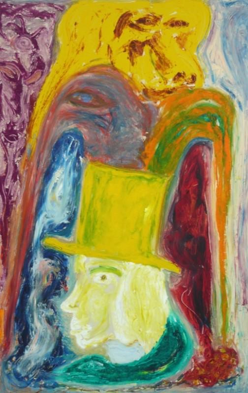 Värikäs maalaus, abstrakteja muotoja. Alalaidassa keltaiset miehen kasvot profiilissa, keltainen silinterihattu.