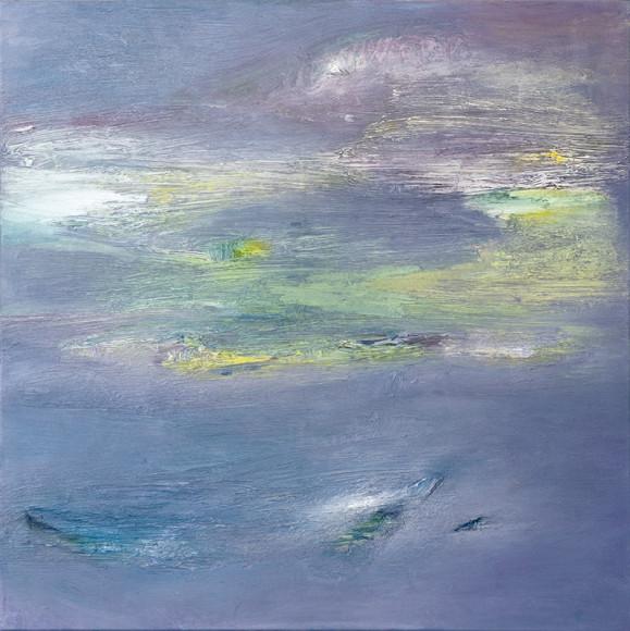 Abstrakti maalaus sinisen sävyissä, häivähdyksiä violettia, valkoista ja keltaista.