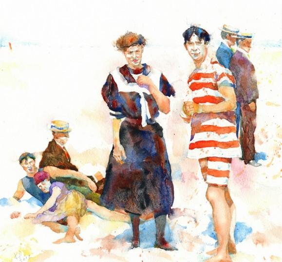 Vanhanaikaisesti pukeutuneita ihmisiä viettämässä kesäpäivää. Valkoinen tausta.