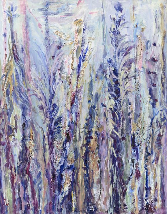 Oksamaisista maalausjäljistä koostuva abstrakti maalaus sinisen, violetin ja valkoisen sävyissä.