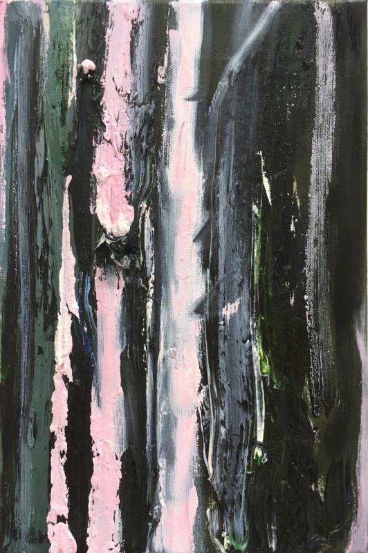Vaaleanpunaisia ja harmaita maalauksellisia raitoja mustalla taustalla.