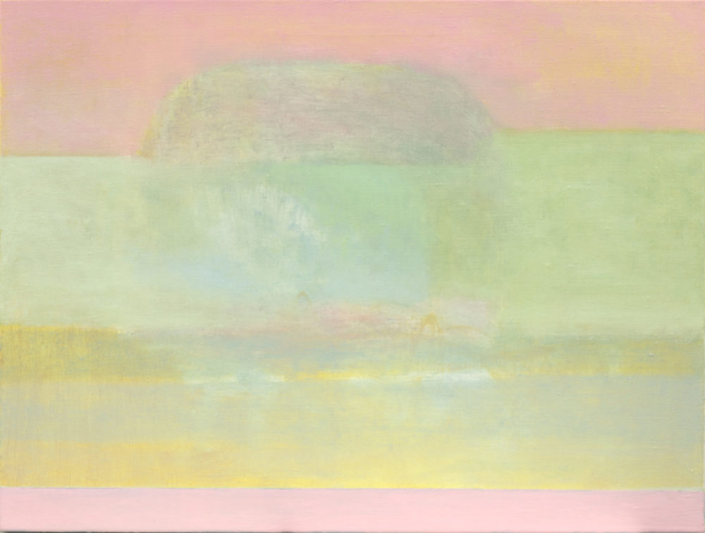 Vertikaalisista raidoista koostuva vaaleankirjaa abstrakti maalaus, heleitä värejä: vaaleanpunaista, vihreää, keltaista.