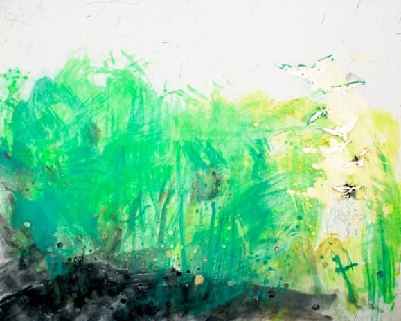 Vihreää, turkoosia, mustaa maalausjälkeä, pieniä lintuja, valkoinen tausta.