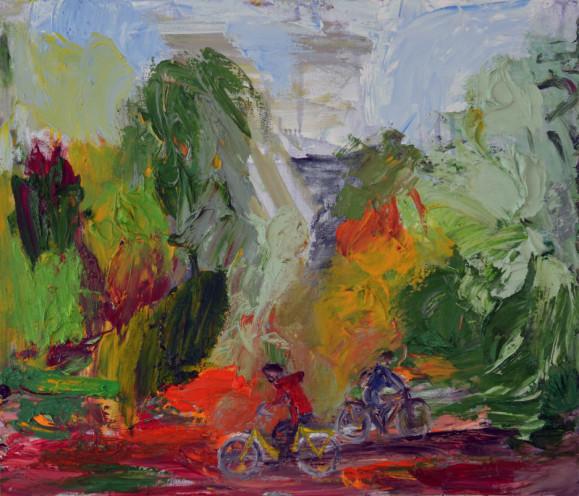 Abstrakti värikäs maalaus. Voimakasta maalausjälkeä. Kaksi pientä pyöräilijää.
