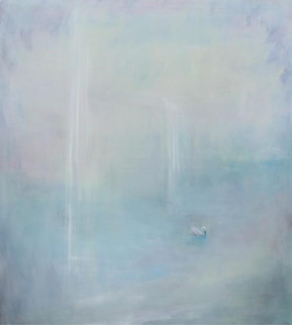 Haalean sininen minimalistinen maalaus. Oikealla etäinen joutsen.
