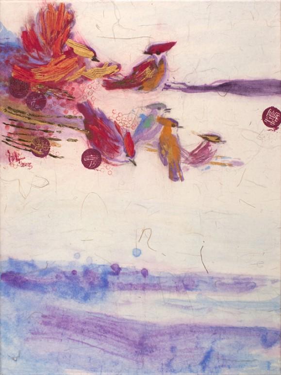 Värikästä maalausjälkeä ja pilkkuja, värikkäitä lintuja. Valkoinen tausta.