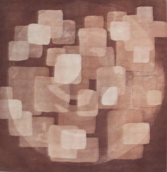 Neliömäisistä kuvioista koostuva abstrakti maalaus. Ruskean sävyjä, tummaa ja vaaleaa.