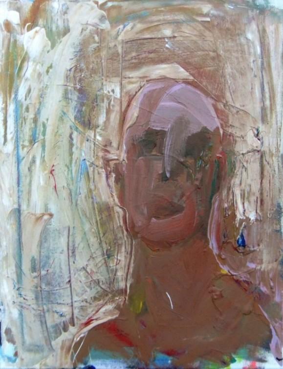 Vaalea ekspressionistinen maalaus valkoisen ja ruskean sävyissä. Epämääräinen, ruskea, kalju ihmishahmo.