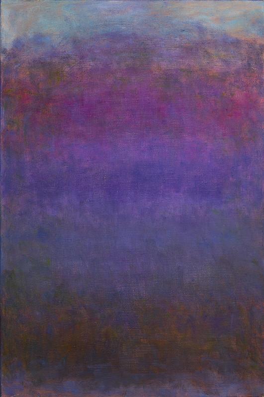 Abstrakti maalaus, tummahko. Violettia, sinistä, tummanpunaista.