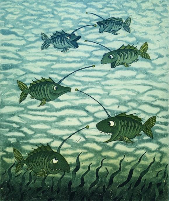 Hauskan näköisiä vihreitä syvänmeren kaloja uiskentelemassa, vihreää merilevää.