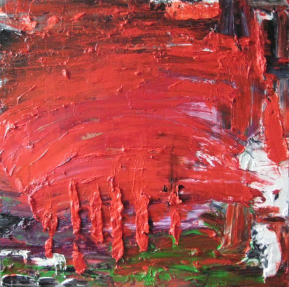 Punainen abstrakti maalaus. Ripauksia vihreää, mustaa, harmaata. Paksuja kerroksia ja sivellinjälkiä.