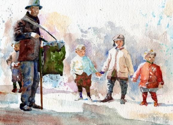 Pieniä lapsia posetiivarin ympärillä. Heleän maalauksellinen vaalea tausta.