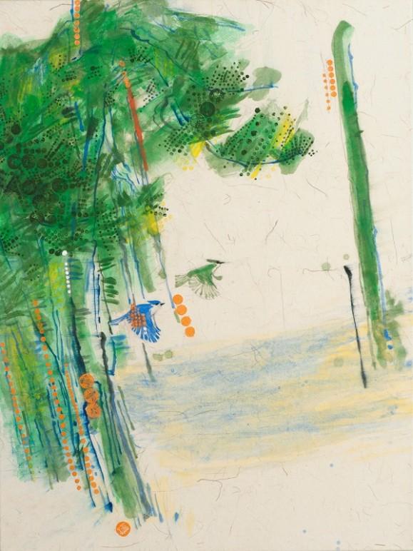 Vihreää ja sinistä maalausjälkeä, viivaa ja pilkkuja. Oransseja pilkkuja ja kaksi lintua. Valkoinen tausta.