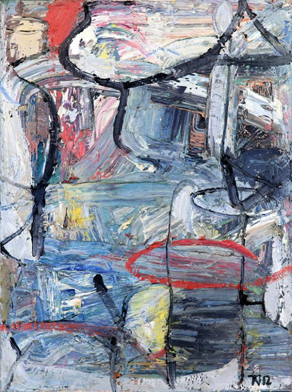 Ekspressionistinen abstrakti kirjava maalaus. Rosoista maalausjälkeä ja tekstuuria. Mustaa viivaa, valkoista.