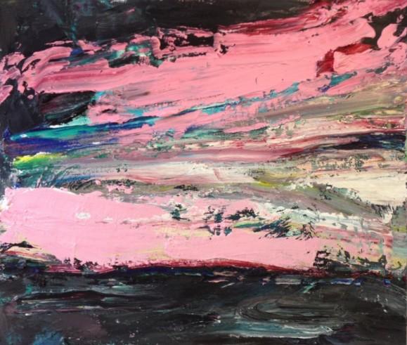 Abstrakti maalaus. Vaaleanpunaista ja mustaa. Ripaus keltaista, vihreää, sinistä.
