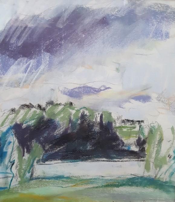 Abstrakti maisema. Vihreää, sinistä, violettia ja mustaa valkoisella pohjalla.