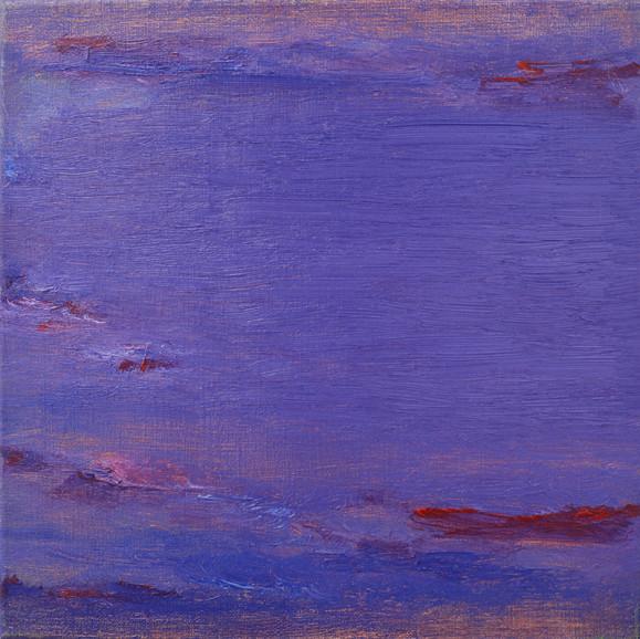 Abstrakti sininen maalaus, häivähdyksiä violettia ja punaista.
