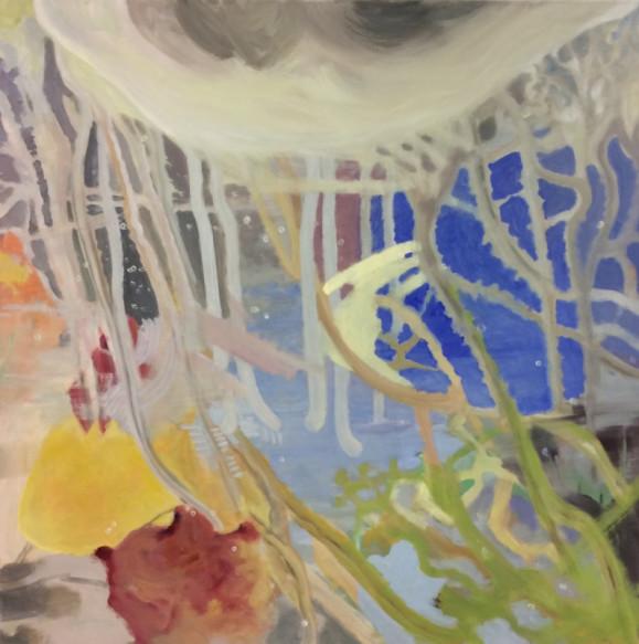 Abstrakti maalaus. Yllä harmaa suuri läikkä josta laskeutuu harmaita lonkeroita värikkäille alueille: keltaista, punaista, sinistä. Alakulmassa vihreitä lonkeroita.