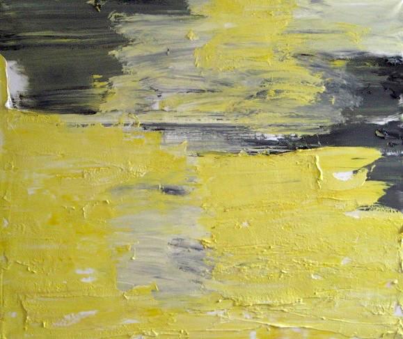 Abstrakti maalaus. Keltaista, mustaa, harmaata, valkoista.