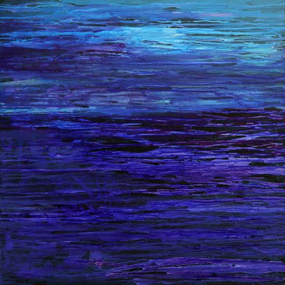 Abstrakti maalaus, sinisen sävyjä ja mustaa, vertikaalista maalausjälkeä.