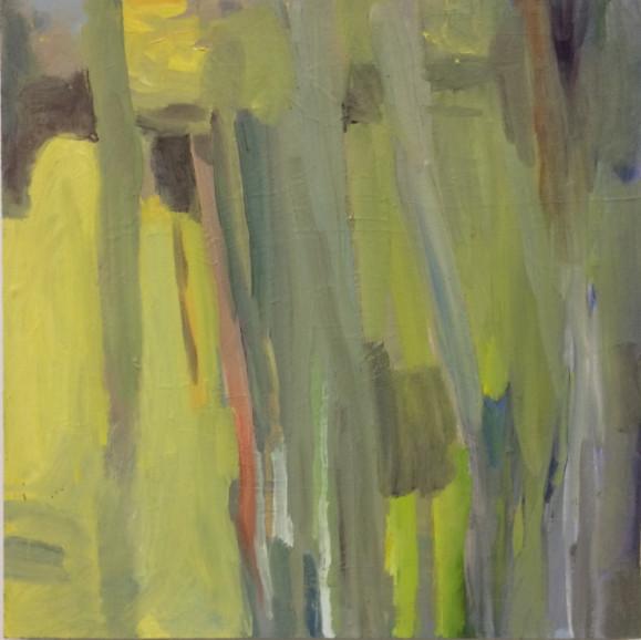 Abstrakti maalaus haalean murretuissa sävyissä. Pystysuuntaisia siveltimenvetoja vihreää, punaista, harmaata, keltaista.