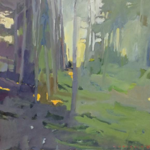 Häilyvä metsämaisema haalean murretuissa sävyissä: vihreää, siniviolettia, ripauksia keltaista.