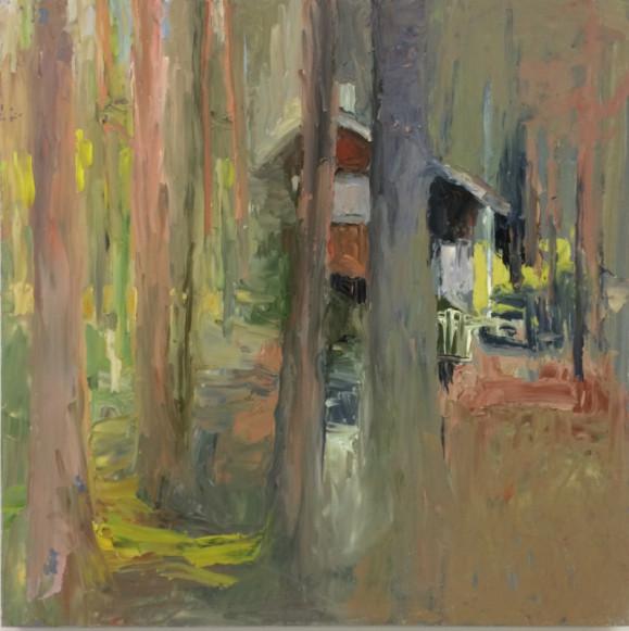 Impressionistisia rusehtavankirjavia puita, joiden lomassa näkyy mökki.