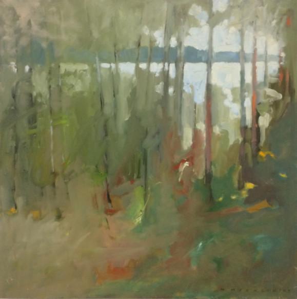 Impressionistinen metsämaisema, puiden lomassa näkyy järvi.