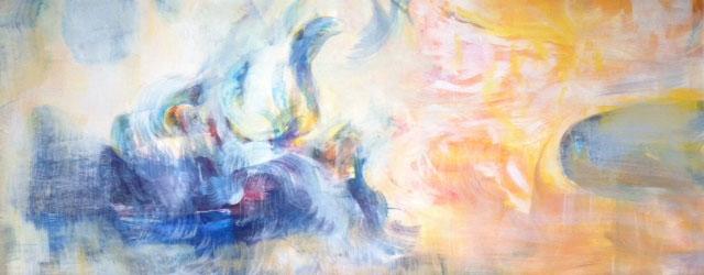 Vaalea abstrakti maalaus, leveä matala pohja. Vasemmalla sinistä, oikealla keltaista.